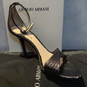 Snake Print Leather Open Toe Thin Heeled Sandals